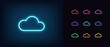 Neon cloud icon. Glowing neon cloud sign, outline technology pictogram
