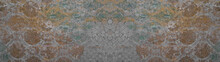 Old Brown Green Gray Vintage Shabby Patchwork Motif Tiles Stone Concrete Cement Wall Texture Background Banner.