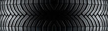 Directional Tire Protector Close-up, Black Rubber Background