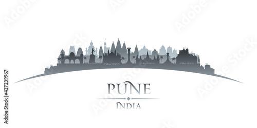 Obraz na plátně Pune India city silhouette white background