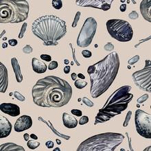 Seamless Pattern Of Seashells And Pebbles