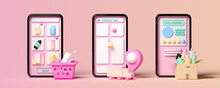 Minimal Background For Online Shopping And Digital Marketing Concept. Mobile Phone With Delivery Interface On Pink Background. 3d Rendering Illustration. Clipping Path Of Each Element Included.