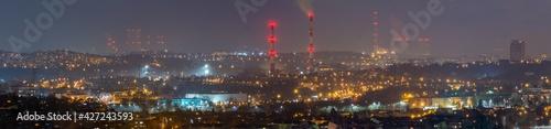 Obraz Nocna Panorama Będzina i Zagłębia. - fototapety do salonu
