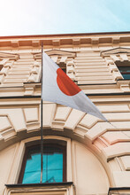 Japan Flag On The Building. Visa Support For Olympic Games Fans