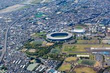 東京都調布市の東京スタジアム付近を空撮