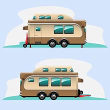 Camping Trailer Car In Cartoon Style Vector