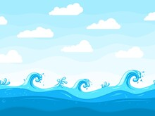 Sea Waves Background. Ocean Wave Pattern, Water Surface Or Beach Landscape. Cartoon Sky White Clouds, Blue Splashes Recent Vector Illustration
