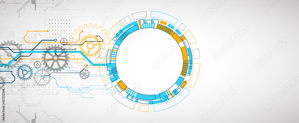 Fototapeta Abstract technology concept. Circuit board, high computer color background. Vector illustration with space for content, web - template, business tech presentation.