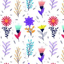 Pressed Flowers. Floral Pattern. Garden Flower, Plants, Botanical, Exotic Design For Fashion, Fabric, Wallpaper. Spring, Summer Flowers, Leaves Decorative Motif, Ornament. Vector Illustration.