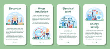 Electrician Mobile Application Banner Set. Electricity Works Service Worker