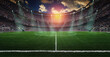 Leinwandbild Motiv Football lies in the smoke on stadium grass