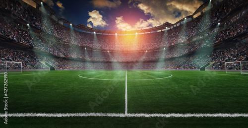 Football lies in the smoke on stadium grass Fotobehang