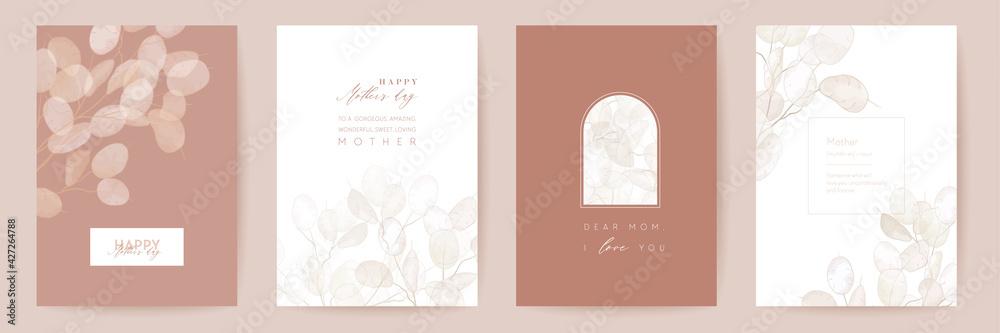 Fototapeta Mothers day floral vector card. Greeting lunaria flowers template design. Watercolor minimal postcard set