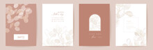 Mothers Day Floral Vector Card. Greeting Lunaria Flowers Template Design. Watercolor Minimal Postcard Set