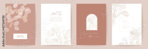 Fototapeta Mothers day floral vector card. Greeting lunaria flowers template design. Watercolor minimal postcard set obraz