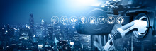 Energy Car Concept. Vehicle EV Charge Battery Electric On Station Blur Cityscape On Panoramic Banner Blue Background With Icon Illustration Environment Earth Friendly. Idea Green Eco Energy Technology