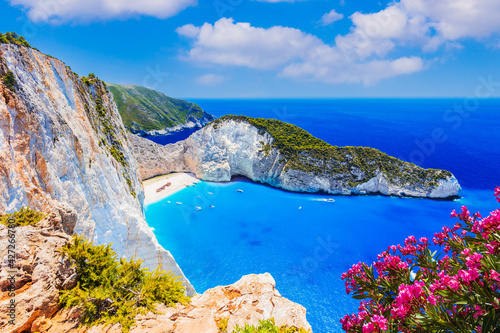 Zakynthos, Greece. Navagio Beach with shipwreck on Zakynthos island. - fototapety na wymiar