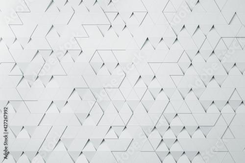 Fototapeta White triangular particles background abstract design. Wallpaper concept, 3d rendering obraz