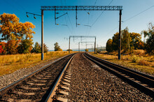 Parallel Railway Tracks And Overhead Lines Through The Forest. Autumn