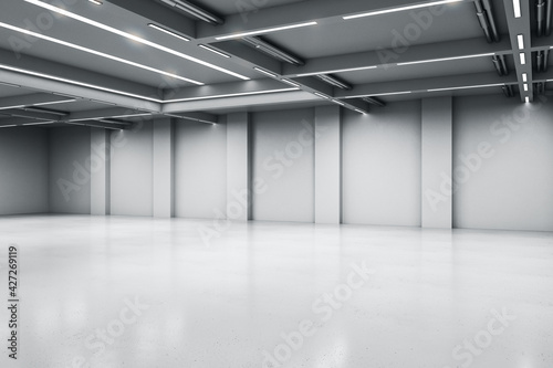 Empty big white room with concrete floor and walls, artificially lighted, showroom and exhibition interior design concept, 3d rendering, mock up