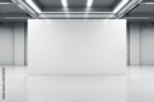 Obraz Glossy light partition with copyspace in modern industrial style hall with lamps on ceiling and concrete floor, 3D rendering, mock up - fototapety do salonu