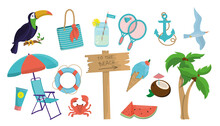 A Large Set With Summer Items. Various Design Elements On The Sea And Summer Theme. Vector Illustration, Graphic Design Element. EPS 10.