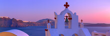Volcanic Caldera On Santorini Island Over The Bell Tower Of The