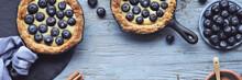 Delicious Blueberry Tartlets With Vanilla Custard Cream On Light