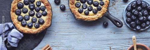 Fotografie, Obraz Delicious Blueberry tartlets with vanilla custard cream on light