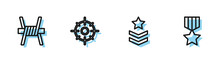Set Line Military Rank, Barbed Wire, Target Sport And Reward Medal Icon. Vector