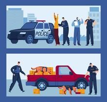 Detective Search Together Dog, Car Police, Fingerprint Alarm, Policeman Uses A Gun, Design, Cartoon Style Vector Illustration.