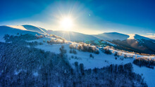 Wonderful Landscapes Of The Carpathian Mountains Covered With Snow And Clear Blue Sky In Ukraine Near The Village Of Pylypets.