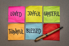 Loved, Joyful, Grateful, Thankful, Blessed - Inspirational And Spiritual Words On Sticky Notes, Lifestyle, Mindset And Personal Development Concept