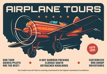 Airplane Tours Service, Air Travel Retro Banner. Vector Airplane, Pilot And Guide Rent, Summer Vacation Touristic Adventure Vintage Promo Poster. Antique Propeller Monoplane Aircraft Flying In Clouds