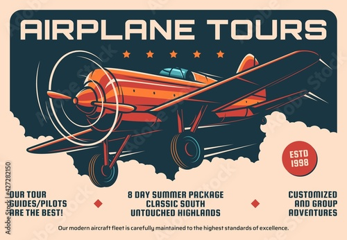 Airplane tours service, air travel retro banner Tapéta, Fotótapéta