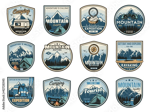 Photo Mountain camping expedition, travel adventure icons and nature tourism badges, vector