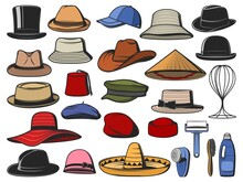 Hats And Caps Vector. Man And Woman Headwear Icons. Cowboy, Asian Straw And Cylinder Hats, Beret, Bowler, Fedora And Beanie, Baseball Cap, Sombrero, Cloche, Panama And Pillbox Headdress