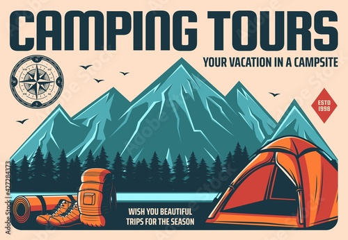 Camping tours and mountain hiking or climbing travel, outdoor tourism, vector retro poster Fotobehang