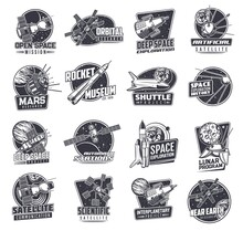 Space Vector Retro Icons With Spaceships Or Satellites. Mars Research, Lunar Program, Rocket Museum And Near Earth Orbital Station. Artificial Sputnik Deep Space Exploration, Scientific Research Signs