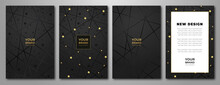 Modern Black And Gold Design Set. Creative Fashionable Background With Paint Stroke (brush) On Background. Luxury Trendy Vector Collection For Business Background, Certificate, Brochure