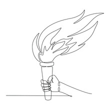 Continuous Line Drawing Of A Hand Holding A Torch Vector Illustration