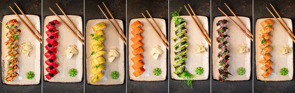 Fototapeta Food collage. Set of various sushi rolls on a stone background.