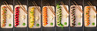 Food collage. Set of various sushi rolls on a stone background.