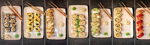 Fototapeta Food collage. Set of various sushi rolls on a stone background. obraz