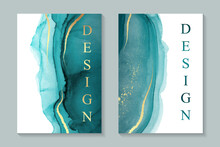 Modern Watercolor Backgrounds Or Elegant Card Design For Birthday Invite Or Wedding Or Menu With Abstract Teal Ink Waves And Golden Strokes And Splashes. Colored With Overlay Layers, Easy To Recolor.