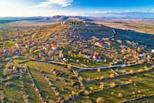 Aerial View Of Bribirska Glavica Historic Town On The Hill Ruins