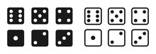 Game Dice Set Isolated On White Background. Set Of Dice In Flat And Linear Design From One To Six. Traditional Game Die With Marked With Different Numbers Of Dots Or Pips From 1 To 6. Vector