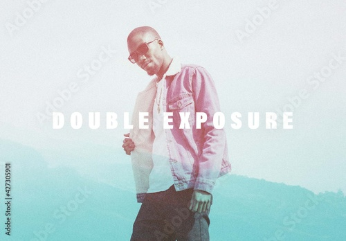 Double Exposure Grain Photo Effect Mockup