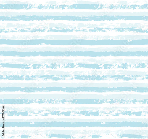 Photo Stripes pattern, baby blue striped seamless vector background, navy brush strokes