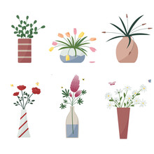Cute Set Of Flowers In Vases